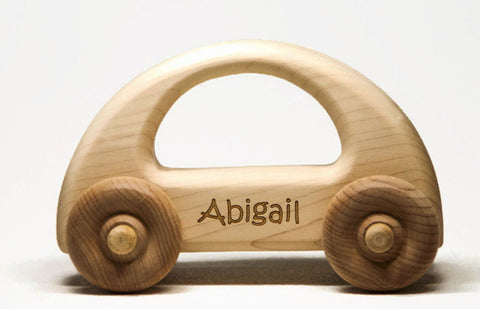 USA Handmade Wooden Push Toy Light Tones Car Includes Custom Engraving