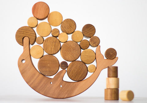 Handmade Heirloom-Quality Hardwood Dolphin Montessori Balance Toy