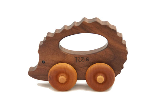 USA Handmade Wooden Push Toy Walnut Hedgehog Includes Custom Engraving