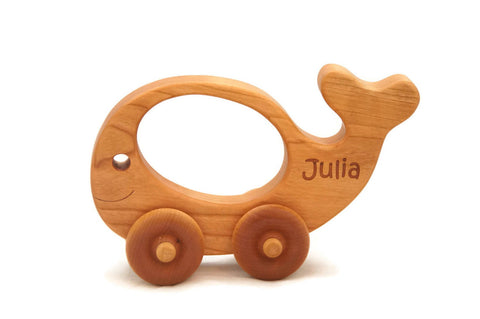 USA Handmade Wooden Push Toy Whale - Includes Custom Engraving
