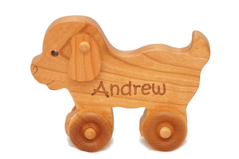 USA Handmade Wooden Push Toy Puppy - Includes Custom Engraving