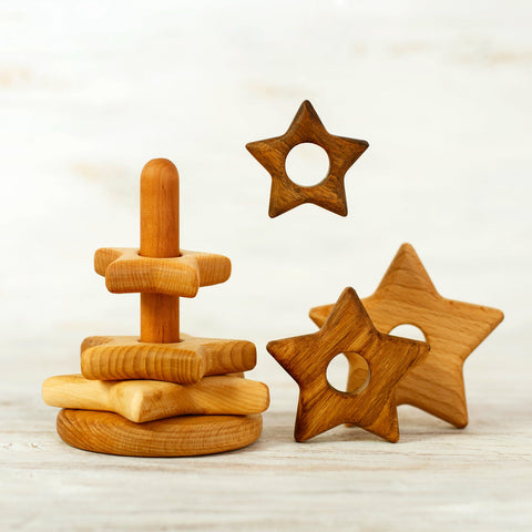 Handmade Heirloom-Quality Hardwood Stacking Star Toy