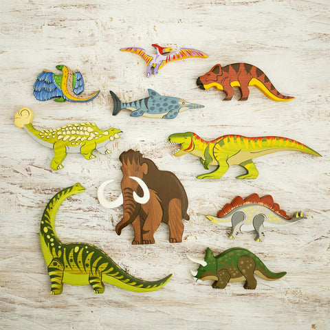 Handmade Heirloom-Quality Hardwood Wooden Dinosaur 10 Pc Set