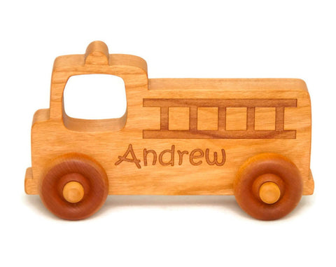 USA Handmade Wooden Push Toy Firetruck - Includes Custom Engraving