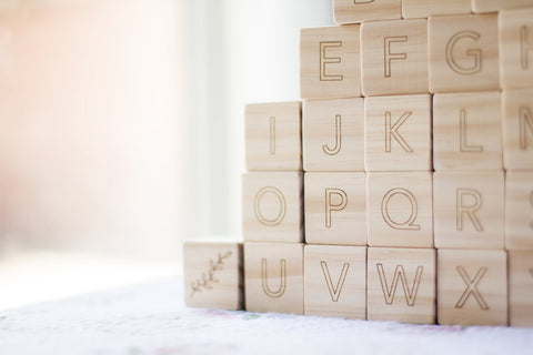 USA Handmade Natural Wooden Alphabet Building Blocks