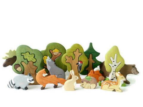 Enjoy free fast shipping on ethically made, custom handcrafted toys & baby shower gifts at Redtailtoys.com like our Handcrafted Heirloom Wooden Woodland Animals 9pcs & Trees 5pcs.  Shop quality Montessori, educational, learning, Waldorf, building, creative, free-play, imaginative play, safe, eco-friendly, imported and USA-handmade wooden toys.