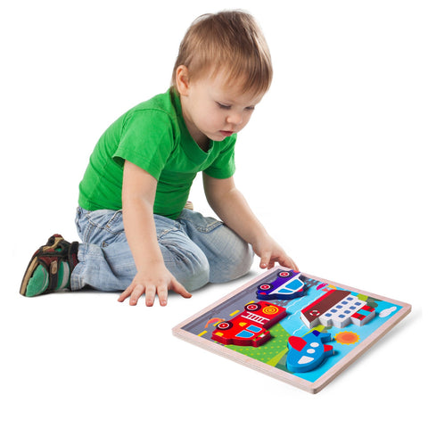 Enjoy fast, free nationwide shipping!  Owned by a husband and wife team of high-school music teachers, Redtailtoys.com is your one stop shop for quality toys & gifts like our Chunky Wooden Board Puzzle - Vehicles.