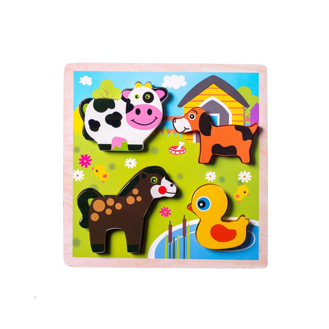 Chunky Wooden Board Puzzle - Farm Animals