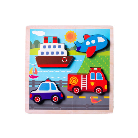 Chunky Wooden Board Puzzle - Vehicles