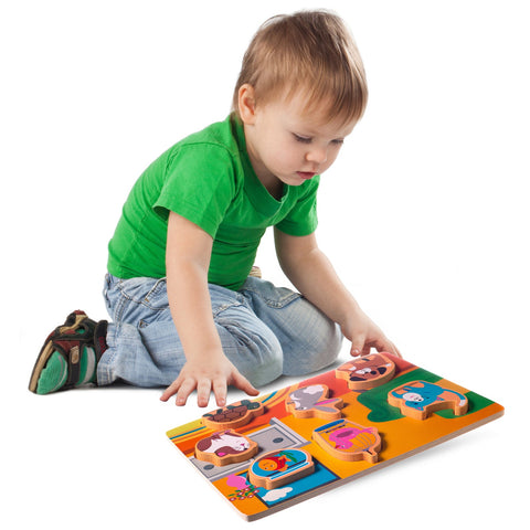 Enjoy free fast shipping on ethically made, custom handcrafted toys & baby shower gifts at Redtailtoys.com like our Chunky Wooden Board Puzzle - Pets.  Shop quality Montessori, educational, learning, Waldorf, building, creative, free-play, imaginative play, safe, eco-friendly, imported and USA-handmade wooden toys.