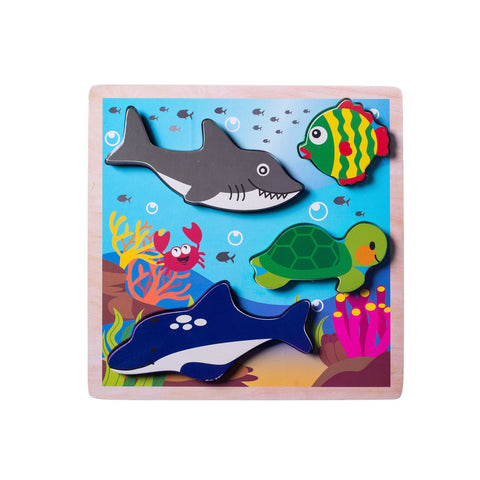 Chunky Wooden Board Puzzle - Ocean Animals
