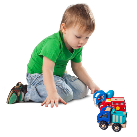 Wooden Toy Car Tractor 4pc Set