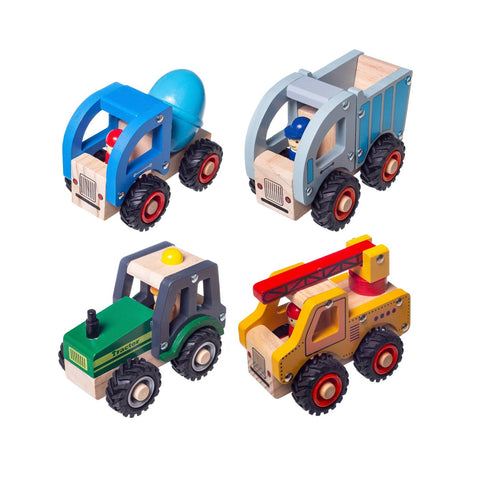 Enjoy fast, free nationwide shipping!  Owned by a husband and wife team of high-school music teachers, Redtailtoys.com is your one stop shop for quality toys & gifts like our Wooden Toy Car Tractor 4pc Set.