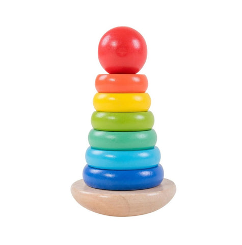 Colorful Small Wooden Stacking Ring Toy