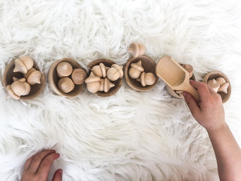 Enjoy free fast shipping on ethically made, custom handcrafted toys & baby shower gifts at Redtailtoys.com like our Handmade Montessori Acorn Set w/ Wooden Bowls & Wooden Scoop.  Shop quality Montessori, educational, learning, Waldorf, building, creative, free-play, imaginative play, safe, eco-friendly, imported and USA-handmade wooden toys.