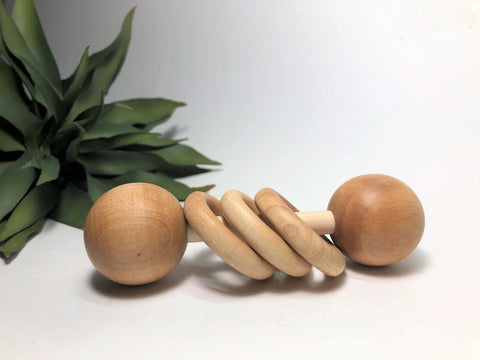 USA-Handmade Montessori Wooden Baby Rattle Toy
