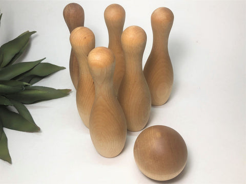 Handmade Maple Wood Bowling Pins & Ball Toy Set
