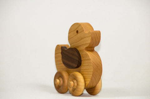 USA Handmade Wooden Push Toy Duck - Includes Custom Engraving