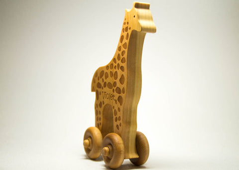 USA Handmade Wooden Push Toy Giraffe Includes Custom Engraving