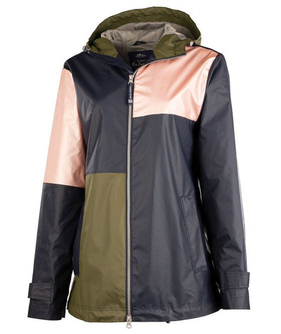 WOMEN'S COLOR BLOCK NEW ENGLANDER® RAIN JACKET. Monogram.