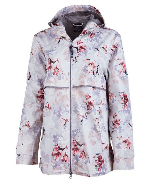 WOMEN'S NEW ENGLANDER® FLORAL PRINTED RAIN JACKET. Monogram.