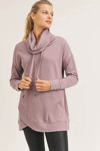 PLUS Cowlneck Garment Dyed Sweatshirt, Dusty Pink by MONO B