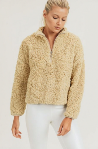 Sherpa Cropped Half-Zip Jacket, Camel Color with pockets by MONO B