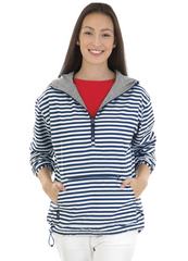 Kangaroo Charles River  Windbreaker. White/Navy Stripes.