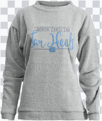 UNC Terry Crew Sweatshirt, Long Sleeve, Gray.