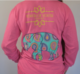 Mint Elephant, Long Sleeve, Pink.
