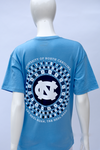Tar Heel Born, Tar Heel Bred. Ravenna Design. Carolina Blue, V-Neck, Short Sleeve.