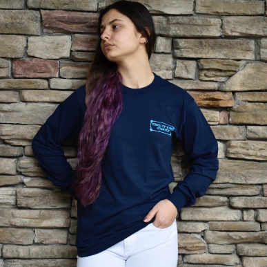 I Gotta Good Heart... Navy, Long Sleeve