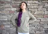 Skip a Straw - Save a Turtle. Long Sleeve. Comfort Color. Khaki.