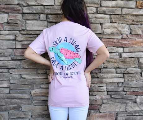 Skip a Straw - Save a Turtle. Pink. Short Sleeve.