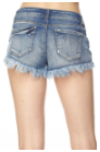 Distressed Denim Shorts with Raw Hem.