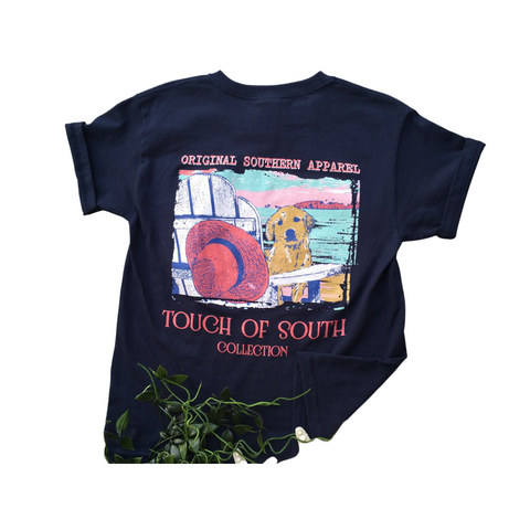 YOUTH. Beach & Dog, Navy. Short Sleeve. Southern.