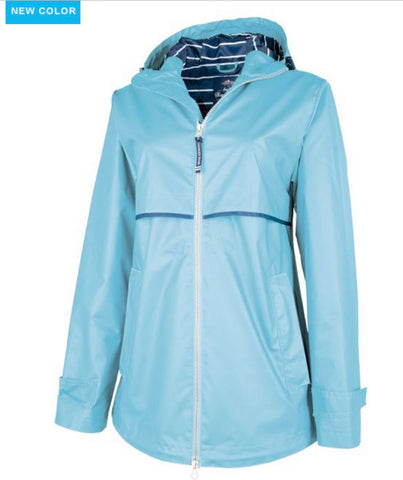 Charles River. WOMEN'S NEW ENGLANDER® RAIN JACKET WITH PRINT LINING. Sky Blue/Stripe.