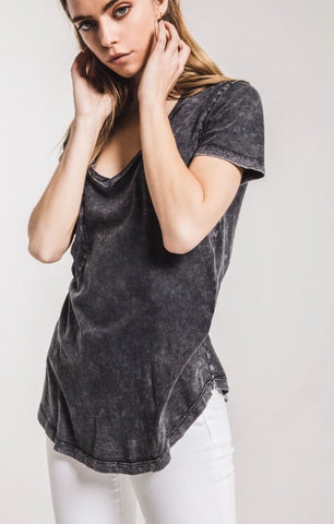 THE WASHED COTTON POCKET TEE. Black, by Z Supply