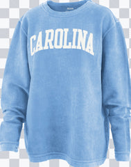 Carolina Campus Sweatshirt. Crew-Neck. Vintage Wash. Long Sleeve. Carolina Blue.