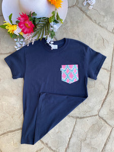 Pocket Tees. Navy with Pink Pocket