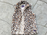 SHERPA-VEST. Leopard Print. With Pockets. Faux Fur Vest.