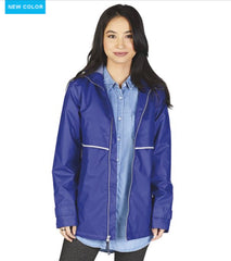 Charles River. WOMEN'S NEW ENGLANDER® RAIN JACKET WITH PRINT LINING. Royal Blue/Stripe.
