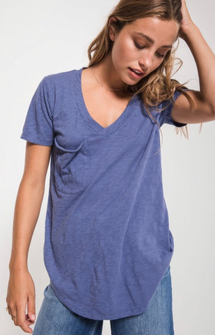 THE COTTON SLUB POCKET TEE. Coastal Blue, by Z Supply