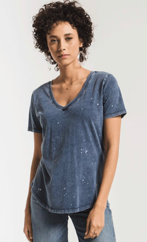 THE JERSEY DENIM V-NECK TEE by Z Supply
