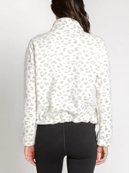 Sherpa. Nadia Fleece Pullover in White Leopard By Thread & Supply