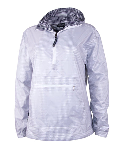 Kangaroo Charles River Windbreaker. Navy/White Gingham.