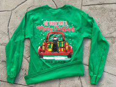 We Wish You a Merry Christmas... Long Sleeve. Christmas Green.