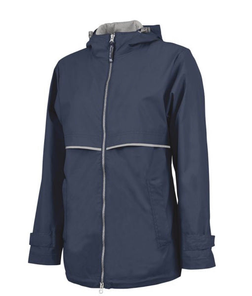 Charles River. WOMEN'S NEW ENGLANDER® RAIN JACKET. Navy/Reflective.
