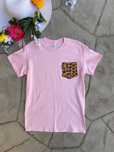 Pocket Tees. Pink with Leopard Pocket