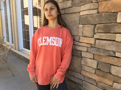 Vintage Wash Fleece Pullover. Clemson, South Carolina.